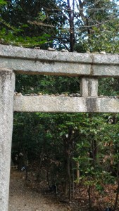 Stones on a torii at Muko shrine